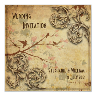 Vintage Floral Love Birds Wedding Invitation