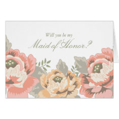 Vintage Floral Maid of Honor Cards
