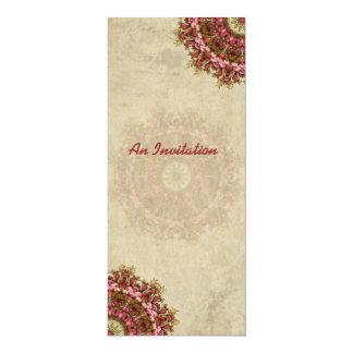"""Vintage Floral Mandala Invitation 4"""" X 9.25"""" Invitation Card"""