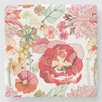 Vintage Floral Marble Stone Coaster (<em>$11.15</em>)