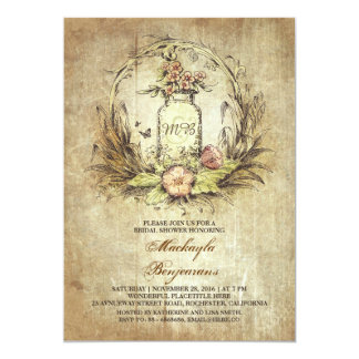 vintage floral mason jar rustic bridal shower card - Vintage Wedding Shower Invitations