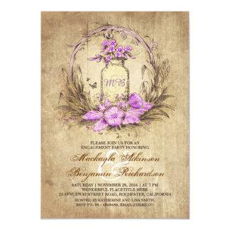 Vintage floral mason jar rustic engagement party card