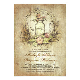 Vintage floral mason jar rustic rehearsal dinner card