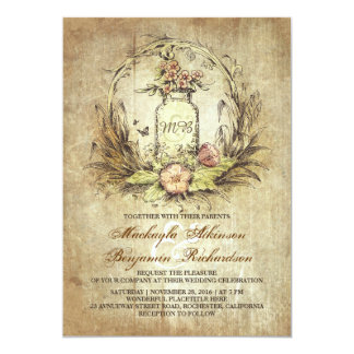 vintage floral mason jar rustic wedding card