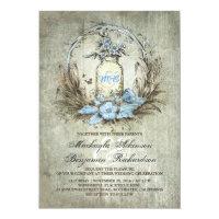 Vintage floral mason jar rustic wedding invitation