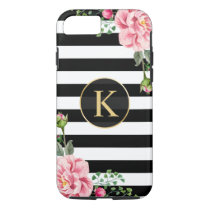 Vintage Floral Monogram Black White Striped iPhone 7 Case