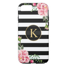 Vintage Floral Monogram Black White Striped Iphone 7 Case at Zazzle
