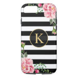 Vintage Floral Monogram Black White Striped Iphone 8/7 Case at Zazzle