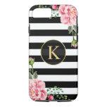 Vintage Floral Monogram Black White Striped iPhone 8/7 Case