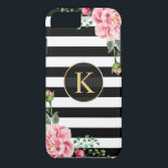 "Vintage Floral Monogram Black White Striped iPhone 8/7 Case<br><div class=""desc"">Decorate your iPhone in Style with this Personalized &quot;Vintage Floral Monogram Black White Striped&quot; unique case! You can customize it with your name or text on this design. If you need further customization, please click the &quot;Customize it&quot; button and use our design tool to resize, rotate, change colors, add text...</div>"
