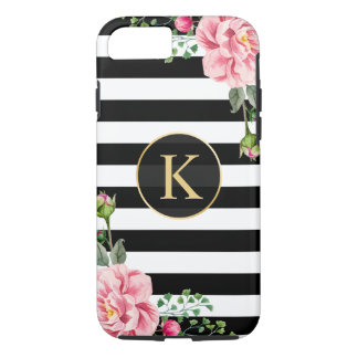 Vintage Floral Monogram Black White Striped iPhone 8/7 Case