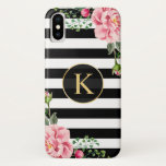 Vintage Floral Monogram Black White Striped iPhone XS Case