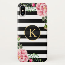 Vintage Floral Monogram Black White Striped iPhone XS Case
