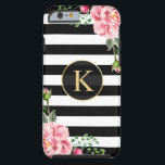 "Vintage Floral Monogram Black White Striped Tough iPhone 6 Case<br><div class=""desc"">Decorate your iPhone in Style with this Personalized &quot;Vintage Floral Monogram Black White Striped&quot; unique case! You can customize it with your name or text on this design. If you need further customization, please click the &quot;Customize it&quot; button and use our design tool to resize, rotate, change colors, add text...</div>"