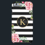 """Vintage Floral Monogram Black White Striped Tough iPhone 6 Case<br><div class=""""desc"""">Decorate your iPhone in Style with this Personalized &quot;Vintage Floral Monogram Black White Striped&quot; unique case! You can customize it with your name or text on this design. If you need further customization, please click the &quot;Customize it&quot; button and use our design tool to resize, rotate, change colors, add text...</div>"""
