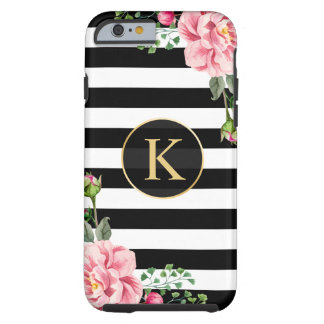 Vintage Floral Monogram Black White Striped Tough iPhone 6 Case