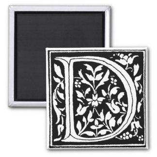 Vintage Floral Monogram 'D' 2 Inch Square Magnet