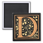 Vintage Floral Monogram 'D' - Magnet