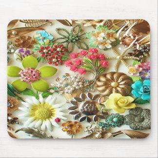 Vintage Floral Monogram Mousepad
