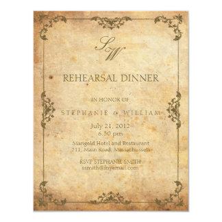 Vintage Floral Monogram Rehearsal Dinner Card