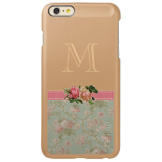 Vintage Floral Monogram Rose Gold Incipio Feather Shine iPhone 6 Plus Case