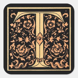 Vintage Floral Monogram 'T' Square Sticker