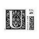 Vintage Floral Monogram 'U' Postage Stamp