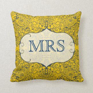 Vintage Floral Mrs Brides Pillow You Choose Colors