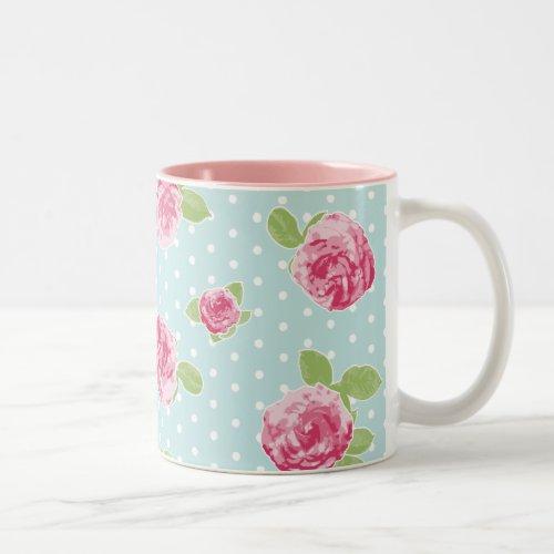 Vintage Floral Mug Shabby Chic Roses