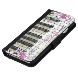 vintage floral music piano keyboard wallet phone case for iPhone 6/6s
