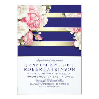 Vintage Floral Navy and Gold Stripes Wedding Card