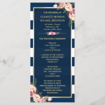 Vintage Floral Navy Blue Striped Wedding Program
