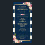 """Vintage Floral Navy Blue Striped Wedding Program<br><div class=""""desc"""">================= ABOUT THIS DESIGN ================= Vintage Floral Navy Blue Striped Wedding Program Template. (1) You are able to Change the Black Stripes to ANY COLOR you like by clicking the &quot;Customize it&quot; button and setting the Background Color. The text color and size are adjustable too. (2) If you need any...</div>"""