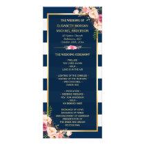 Vintage Floral Navy Blue Striped Wedding Program