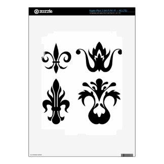 Vintage floral negro de los elementos real iPad 3 skins