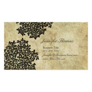 Vintage floral negro tarjeta de visita