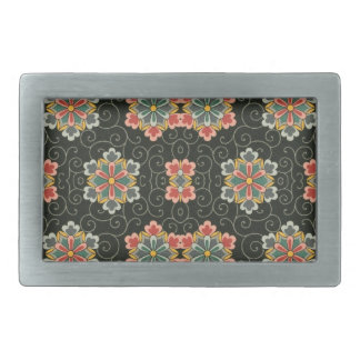 Vintage Floral on Black Belt Buckle
