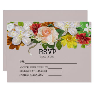 Vintage Floral on Pink Wedding RSVP Card