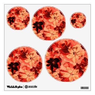 Vintage Floral Orange Dots Circles Wall Decal Set