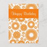 Vintage floral orange Happy Birthday Postcard postcards