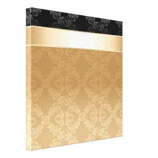 Vintage, floral, oro, damasco, negro, cinta, impresiones de lienzo