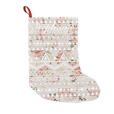 Aztec Themed Vintage Floral Painting and White Aztec Pattern Small Christmas Stocking