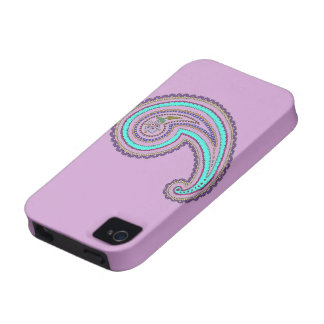 Vintage floral Paisley del trullo púrpura colorido Vibe iPhone 4 Fundas