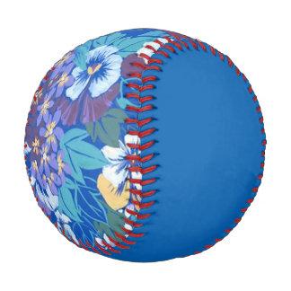 Vintage Floral Pansy Blue Baseball