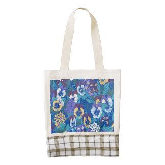 Vintage Floral Pansy Zazzle HEART Tote Bag