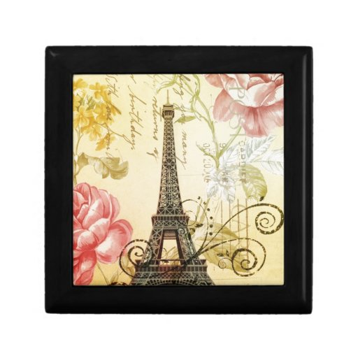vintage floral París de la torre Eiffel de la moda Cajas De Recuerdo