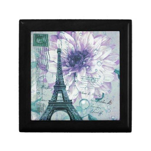 vintage floral París de la torre Eiffel de la moda Joyero Cuadrado Pequeño