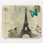 vintage floral París de la torre Eiffel de la moda Alfombrilla De Ratones