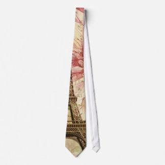 vintage floral París de la torre Eiffel elegante d Corbata Personalizada