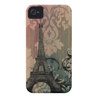 vintage floral París de la torre Eiffel elegante Case-Mate iPhone 4 Protectores